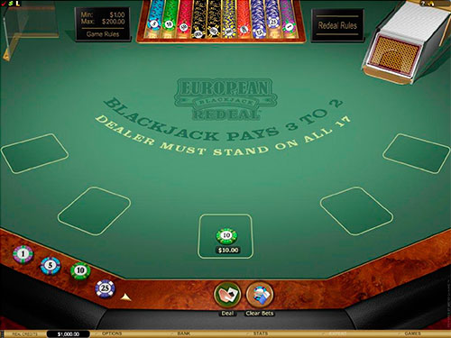 European blackjack redeal gold game